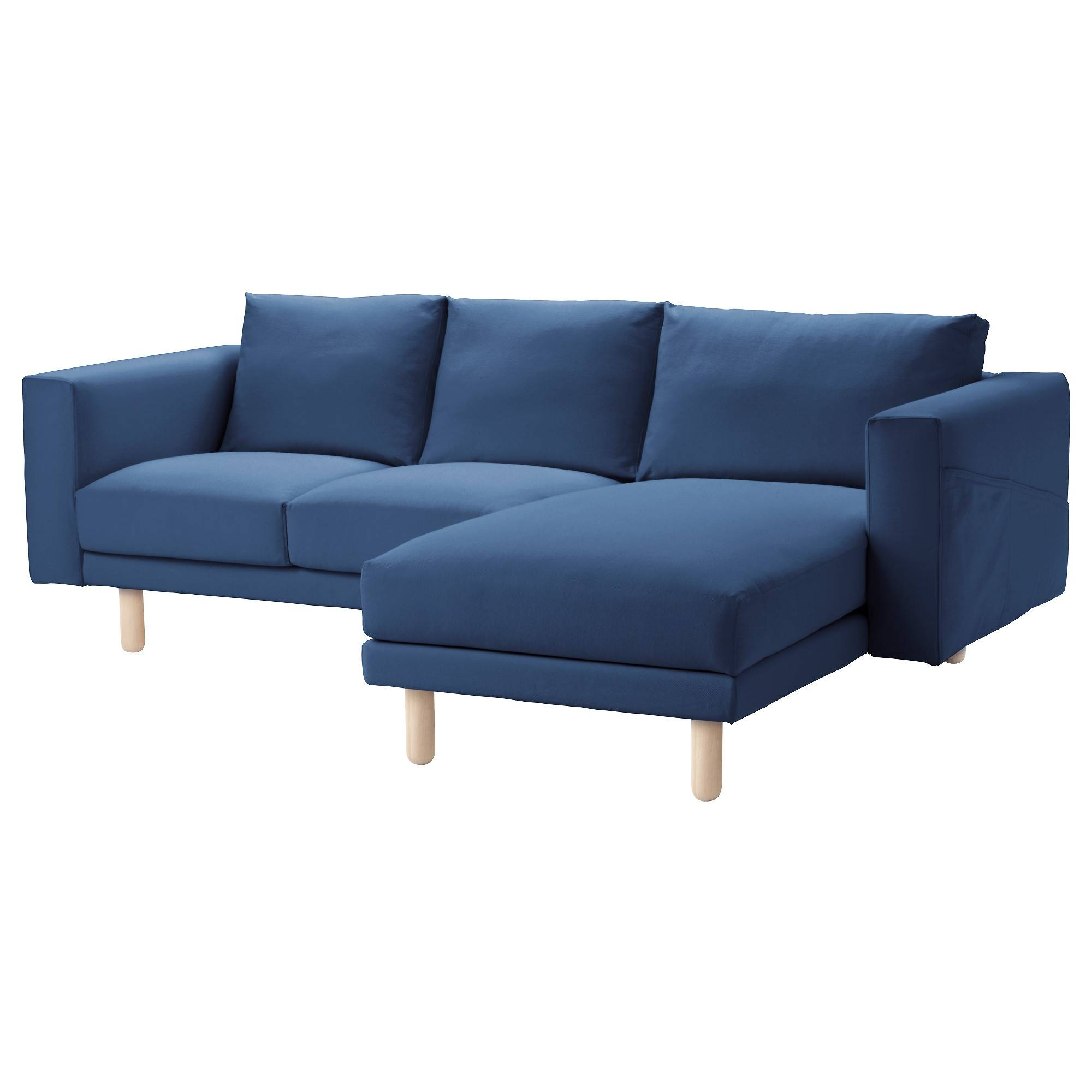 Norsborg Two-Seat Sofa With Chaise Longue Gräsbo Dark Blue/birch inside Sofas With Chaise Longue (Image 21 of 30)