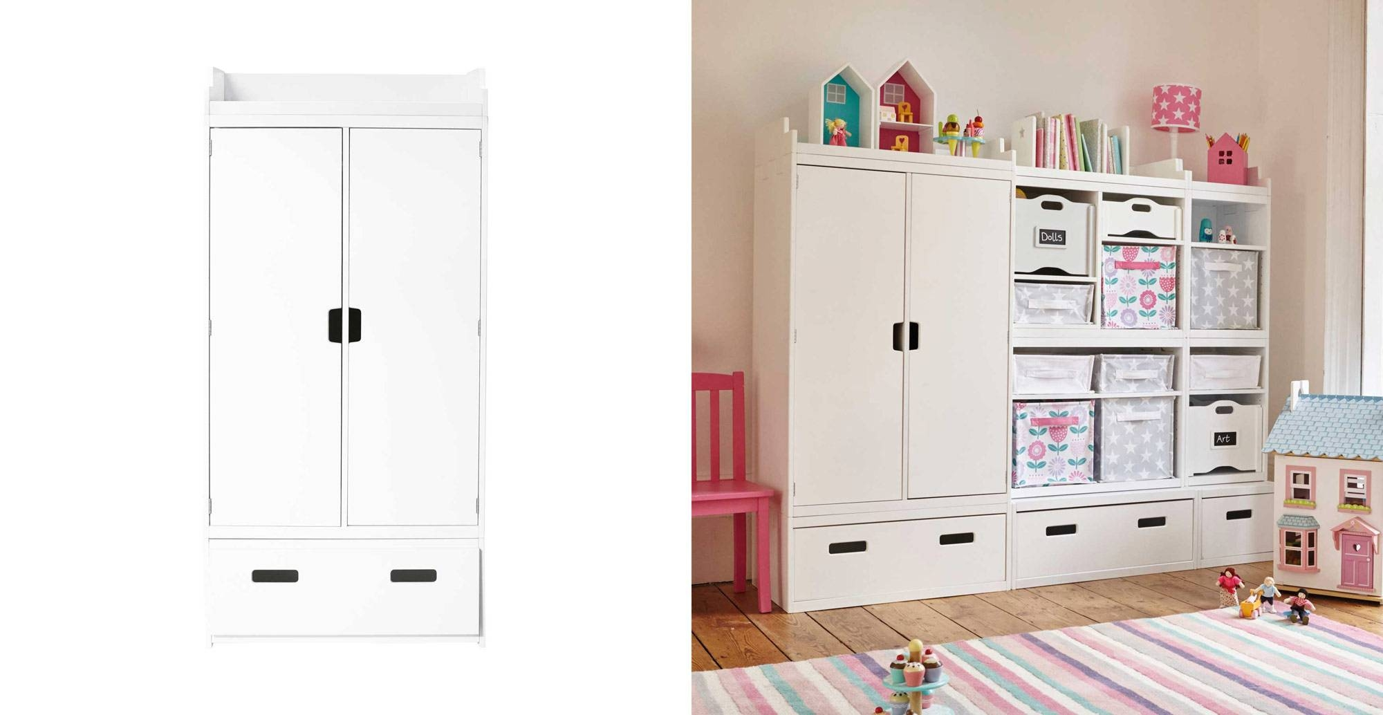 Northcote Kids' Wardrobe - White | Gltc intended for Childrens Wardrobes White (Image 11 of 15)