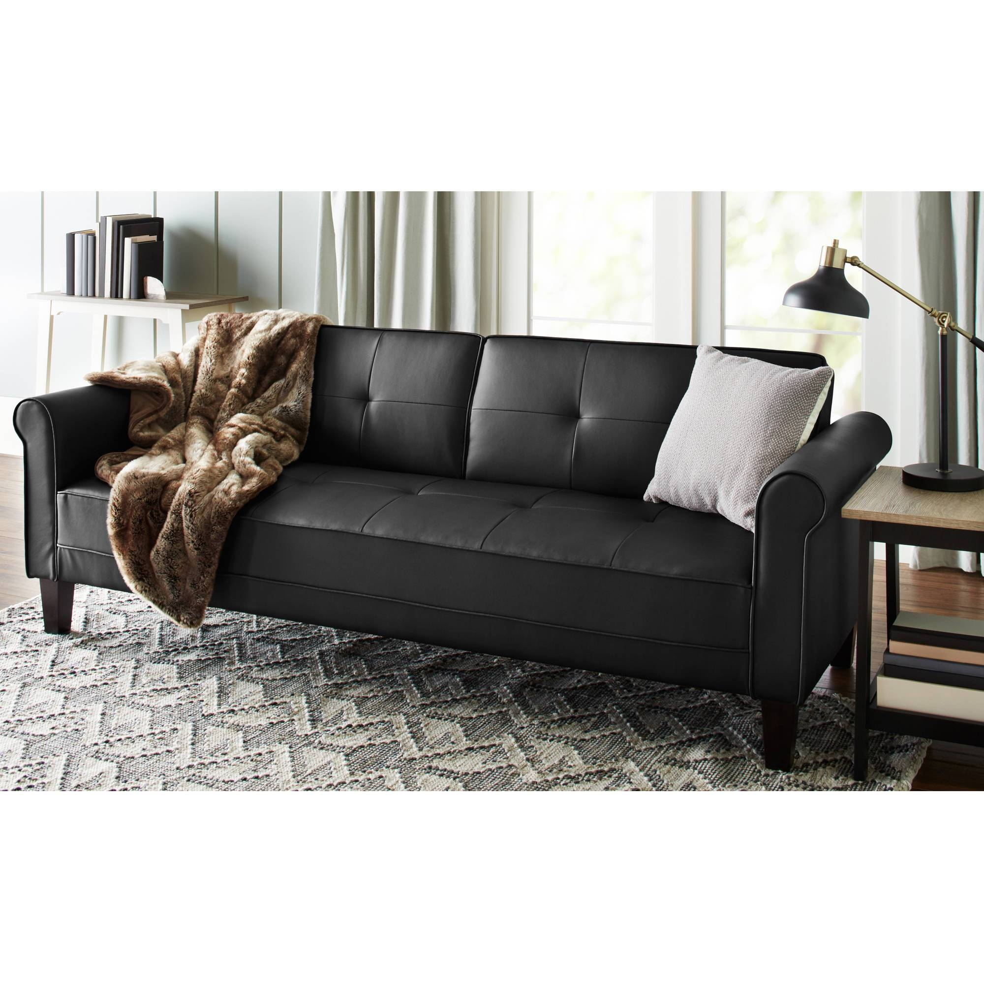 Norton Black Faux Leather Modern Living Room Sofa - Walmart in Wallmart Sofa (Image 23 of 25)