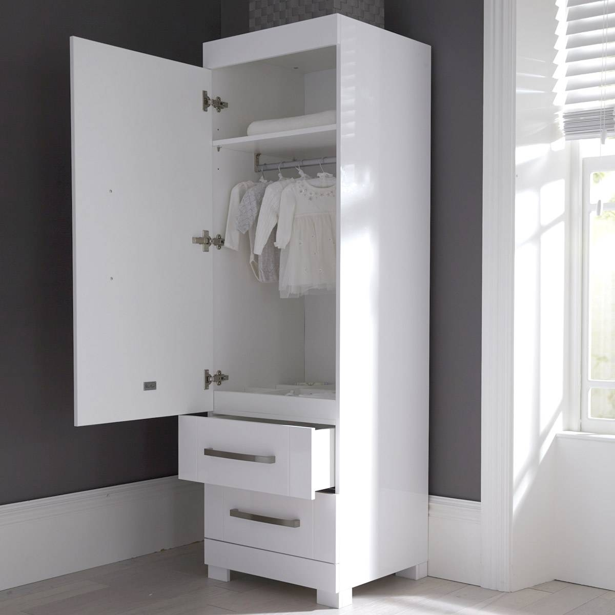 Notting Hill Nursery Single Wardrobe | Silver Cross Uk throughout Silver Wardrobes (Image 9 of 15)