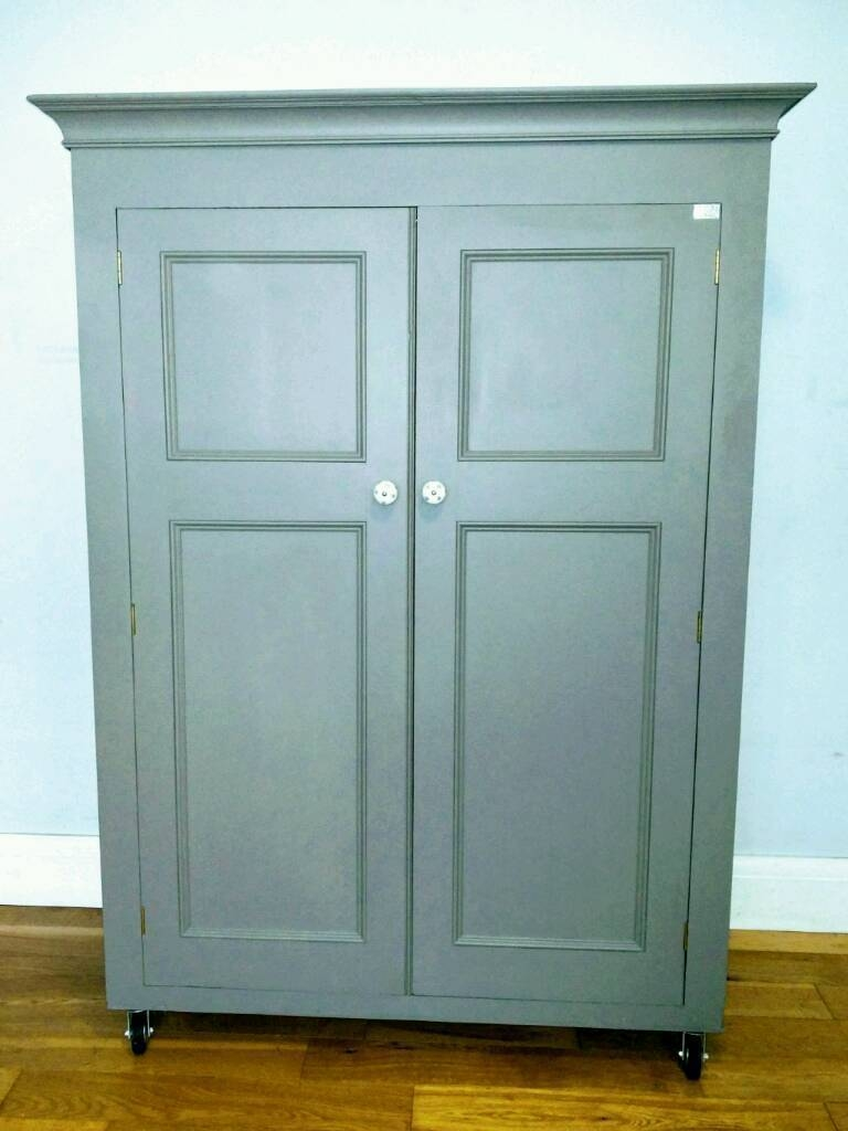 Now Reserved* Farrow & Ball Painted Solid Pine Wardrobe | In regarding Farrow and Ball Painted Wardrobes (Image 12 of 15)
