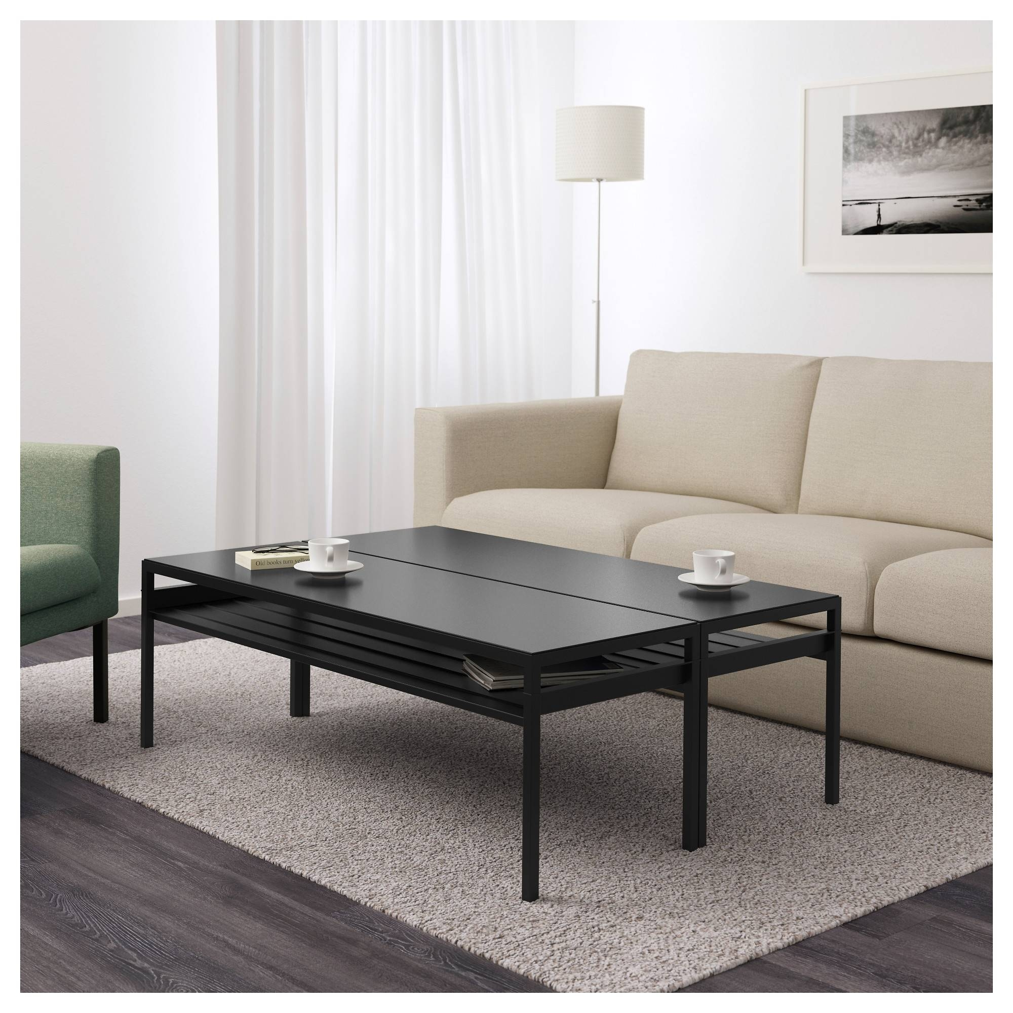 Nyboda Coffee Table W Reversible Table Top Black/beige 120x80x40 Intended For Beige Coffee Tables (View 24 of 30)