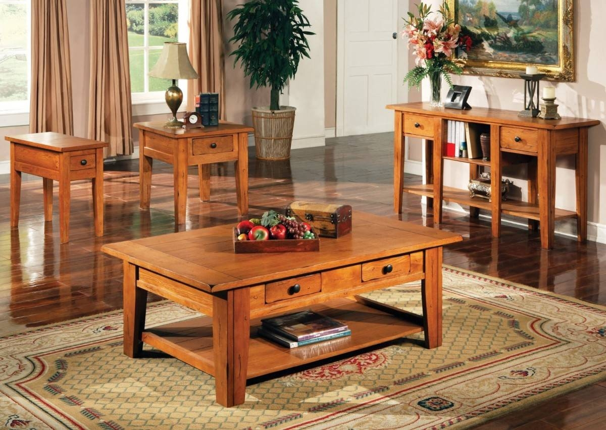 Oak Coffee Table And End Table Sets | Coffee Tables Decoration inside Oak Coffee Table Sets (Image 16 of 30)