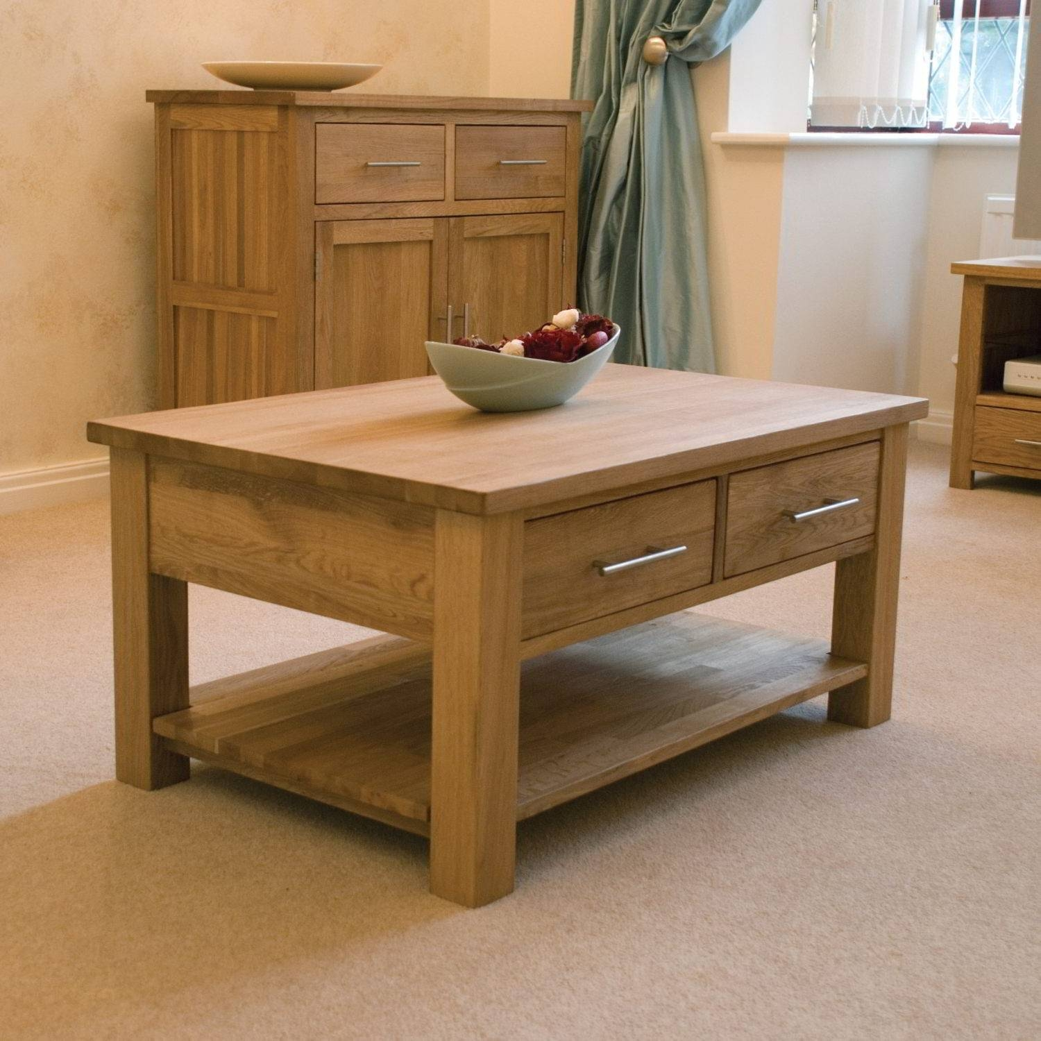 Oak Coffee Table With Drawers Ireland | Coffee Tables Decoration throughout Elevating Coffee Tables (Image 26 of 30)