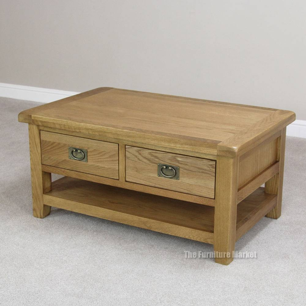 Oak Coffee Table With Drawers Uk | Coffee Tables Decoration With Regard To Rustic Coffee Table Drawers (View 19 of 30)