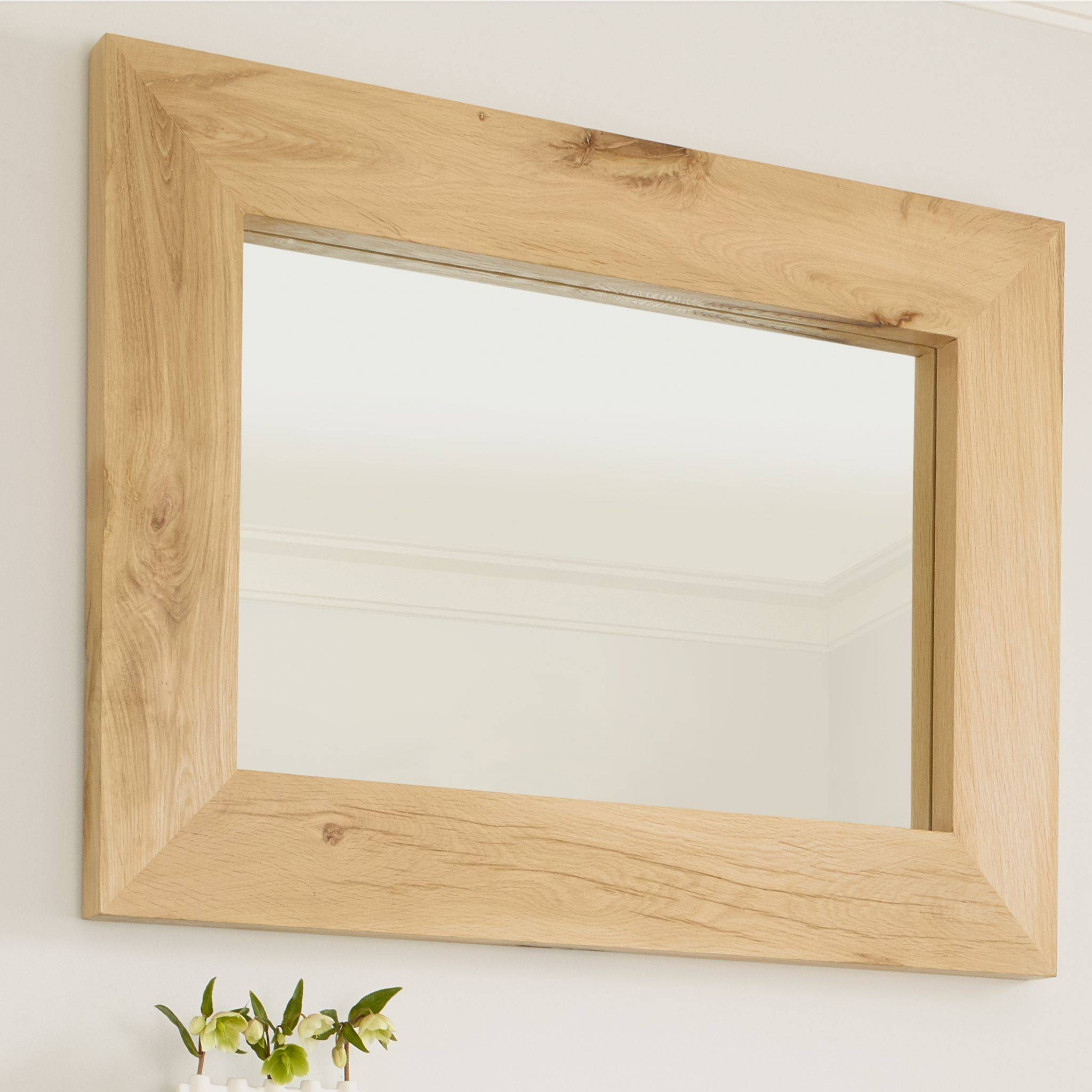 Oak Mirror Canterbury Solid French Rustic Beam intended for Rustic Oak Mirrors (Image 12 of 25)