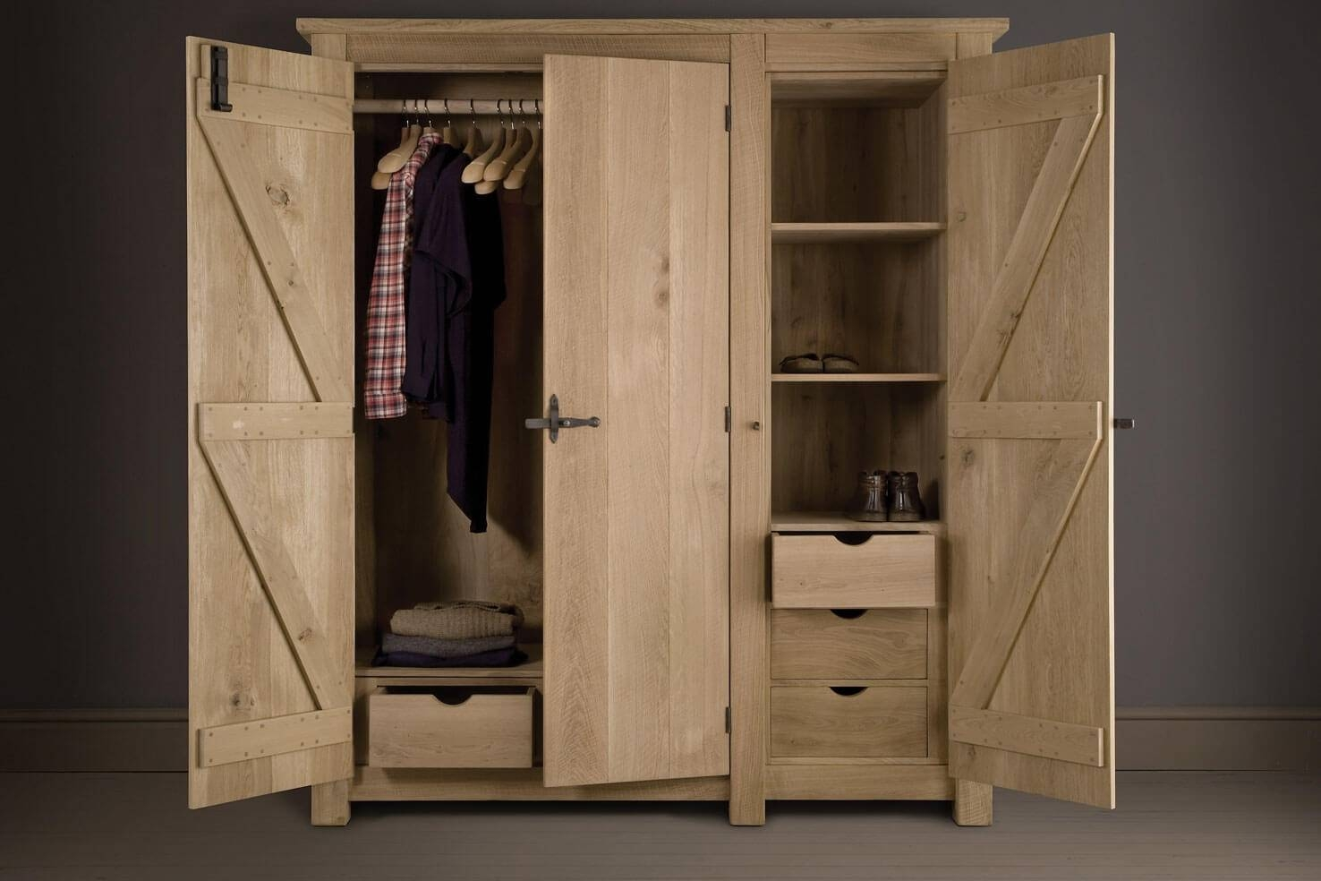 Oak Wardrobe, Handcraftedindigo Furniture regarding Oak Wardrobe With Drawers And Shelves (Image 22 of 30)