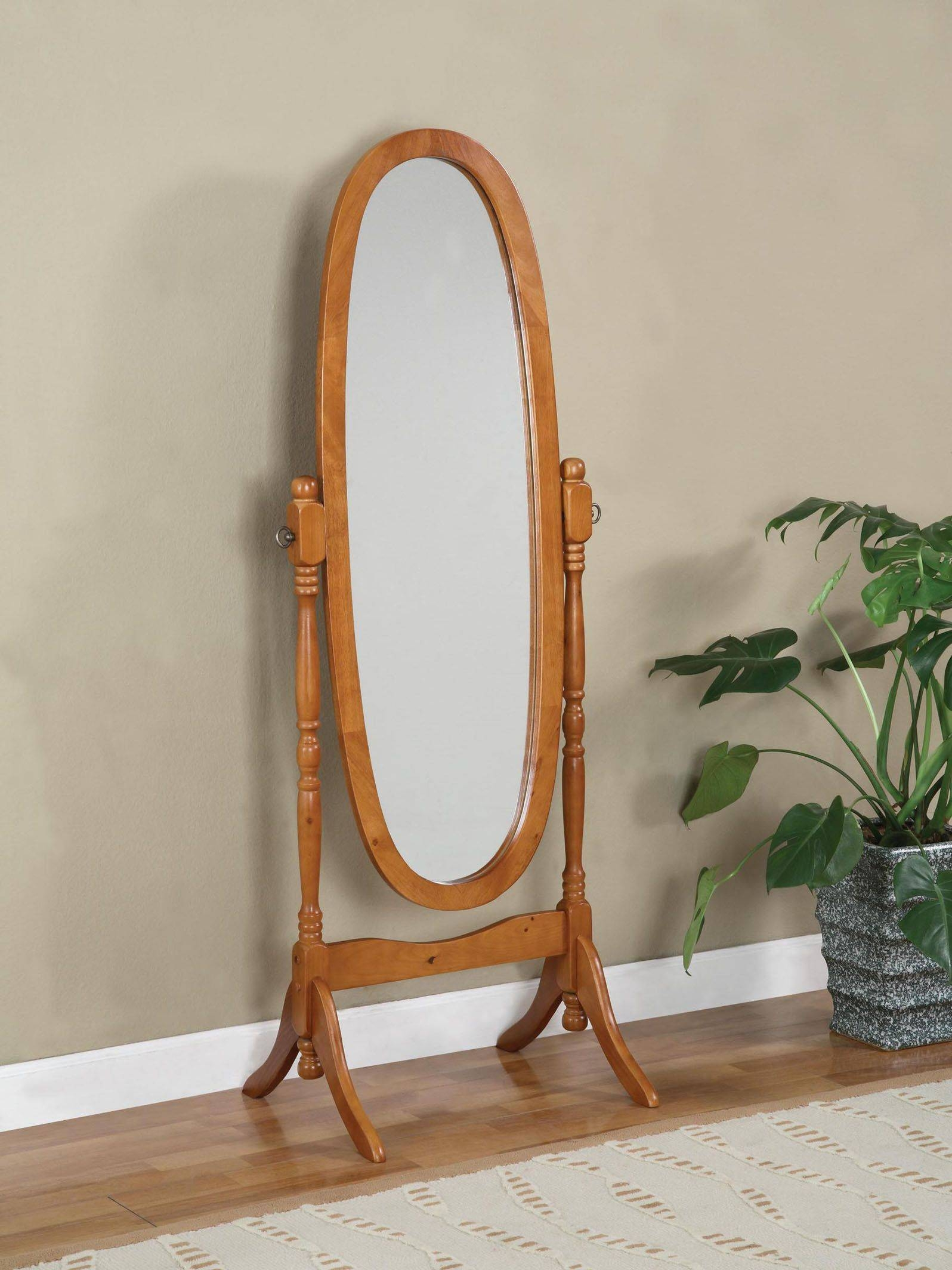 Oak Wooden Cheval Mirror - Functional Decorative Cheval Mirrors inside Cheval Mirrors (Image 23 of 25)