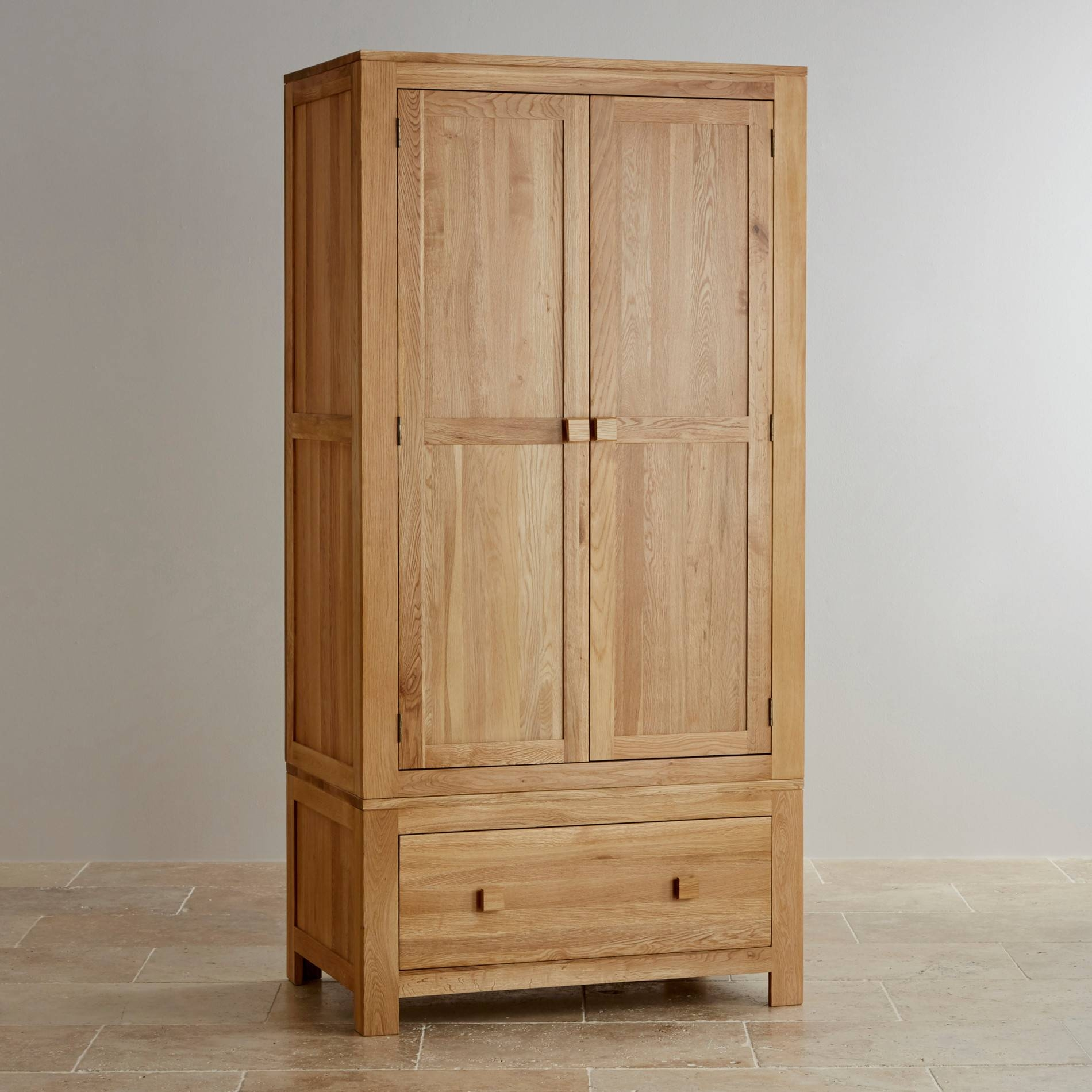 Oakdale Natural Solid Oak Double Wardrobe | Bedroom Furniture pertaining to Cheap Solid Wood Wardrobes (Image 7 of 15)
