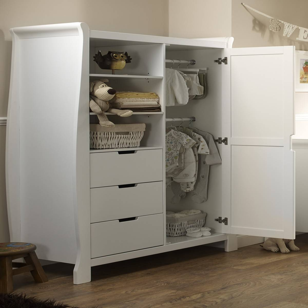 Obaby Lincoln Wardrobe – White – Wardrobes – Furniture – Sleep Within Cheap Baby Wardrobes (View 27 of 30)