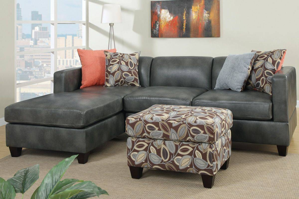 Odessa Gray Faux Leather Sectional Sofa - Steal-A-Sofa Furniture in Faux Leather Sectional Sofas (Image 14 of 25)