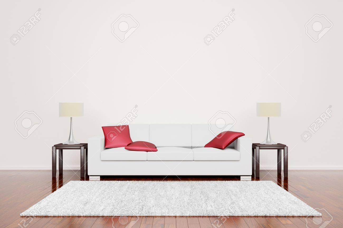 Off White Couch With Red Cushions In Empty Neutral Interior With inside Floor Couch Cushions (Image 26 of 30)