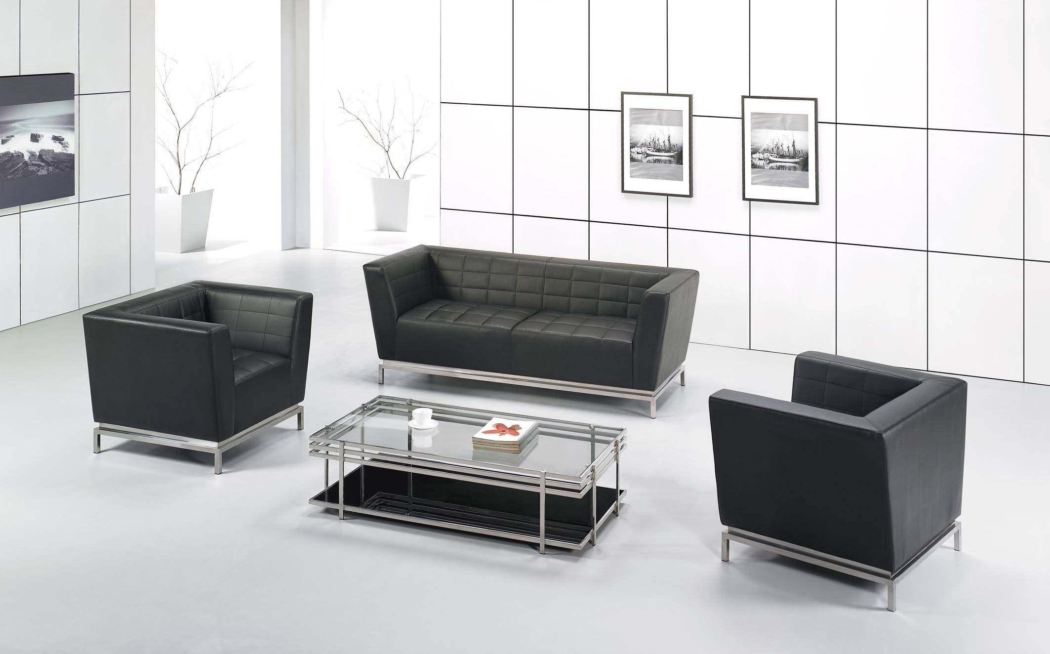 Office Reception Chairs Leather Black Leather Office Guest Chair Regarding Office Sofas And Chairs (View 8 of 15)