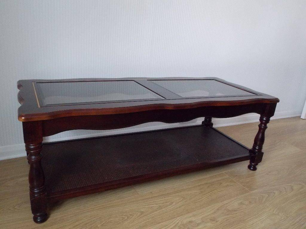 Old And Vintage Polished Square Mahogany Coffee Table With Glass in Coffee Tables With Shelves (Image 26 of 30)