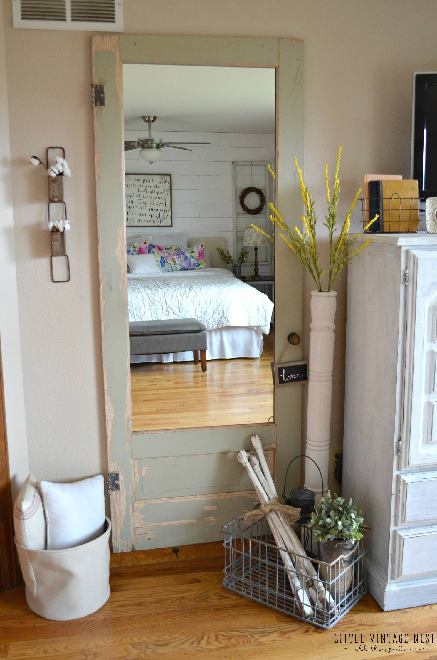 Old Door Turned Full Length Mirror - Little Vintage Nest inside Full Length Vintage Mirrors (Image 18 of 25)