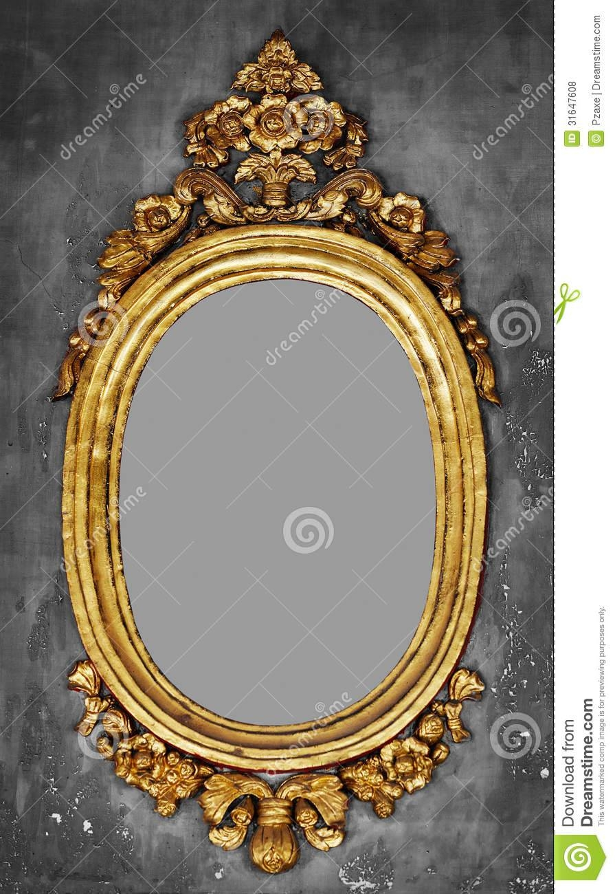 Old-Fashioned Gilt Frame For A Mirror On A Concrete Wall Royalty for Old Fashioned Mirrors (Image 21 of 25)