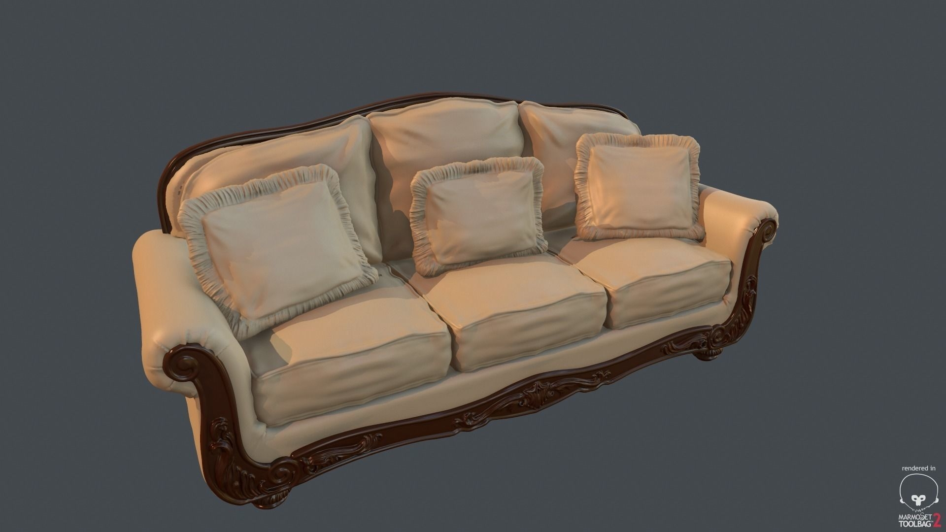 Old Fashioned Sofa 3D Model Obj Fbx Dae Mtl in Old Fashioned Sofas (Image 10 of 30)