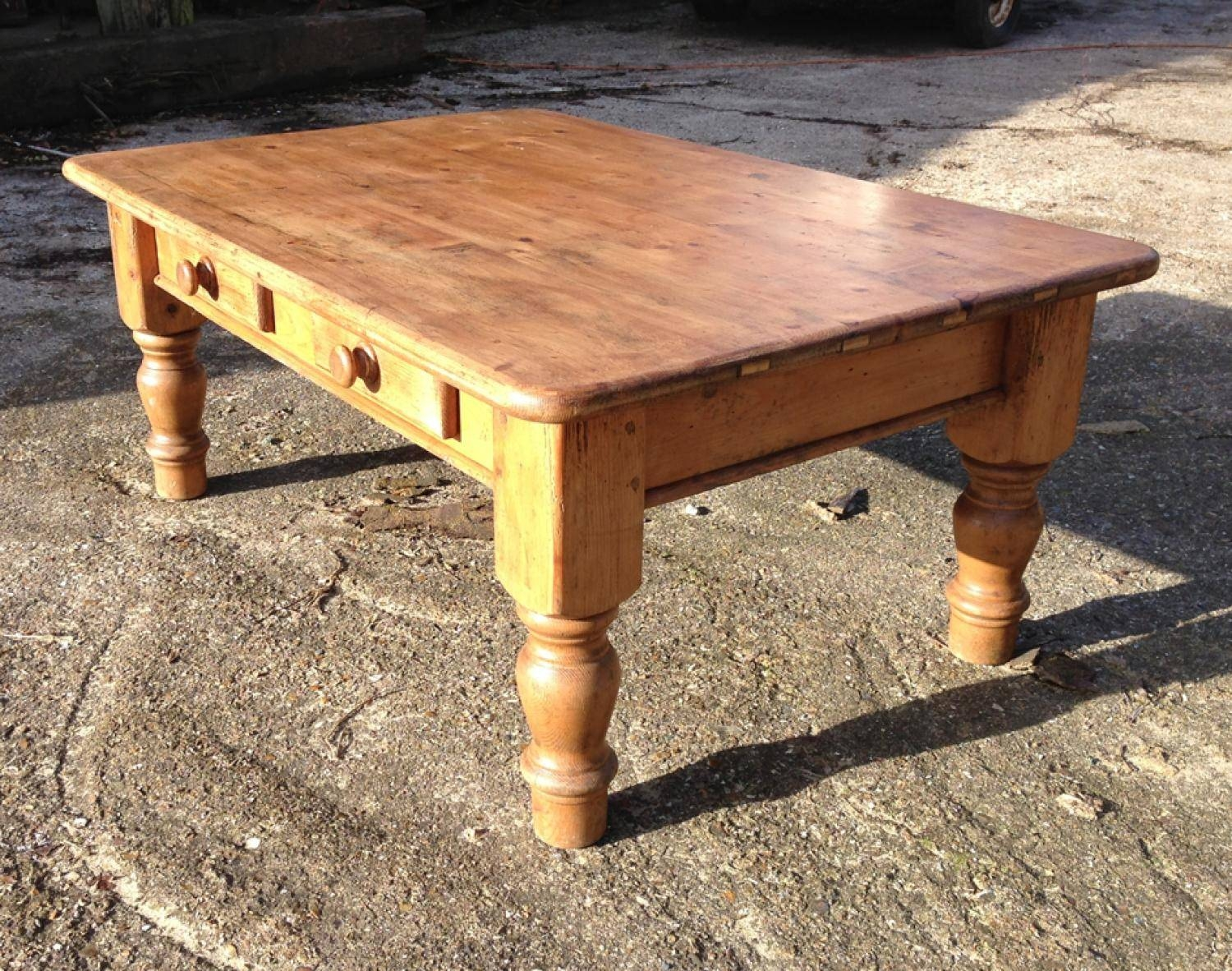 Old Pine Coffee Table With Drawers In Furniture & Boxes Regarding Old Pine Coffee Tables (Photo 3 of 30)