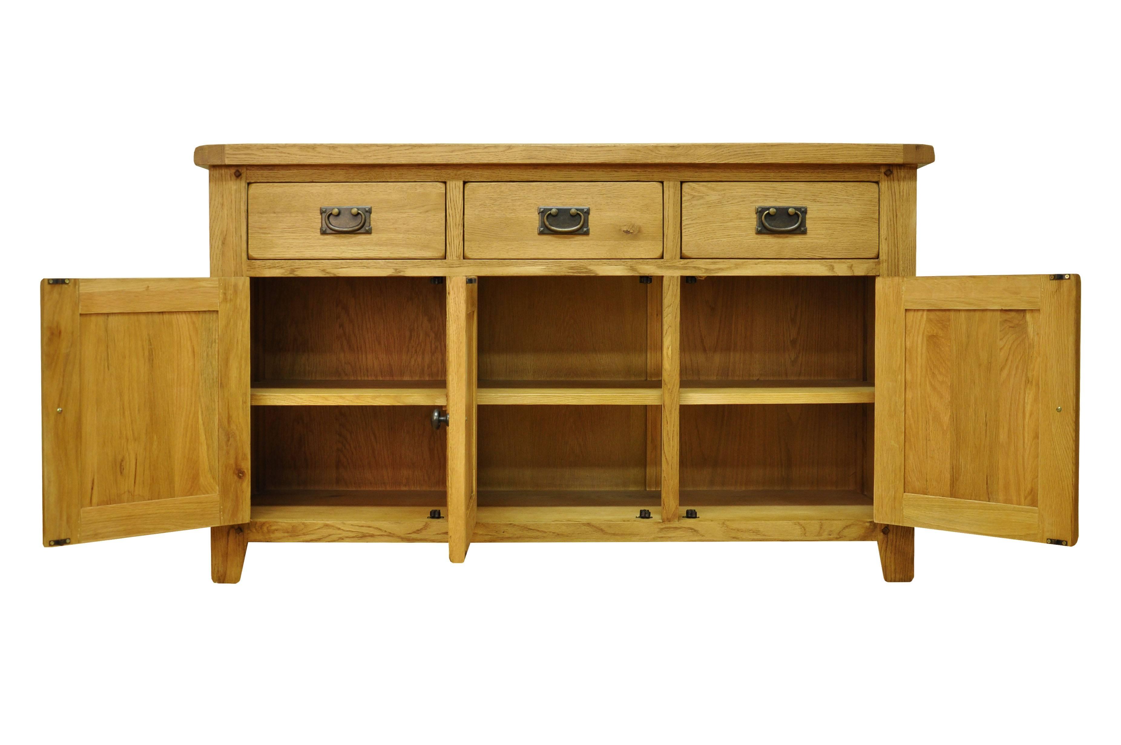 Oldbury 3 Door 3 Drawer Rustic Oak Sideboardstanton 3 Door 3 pertaining to Ready Assembled Sideboards (Image 22 of 30)