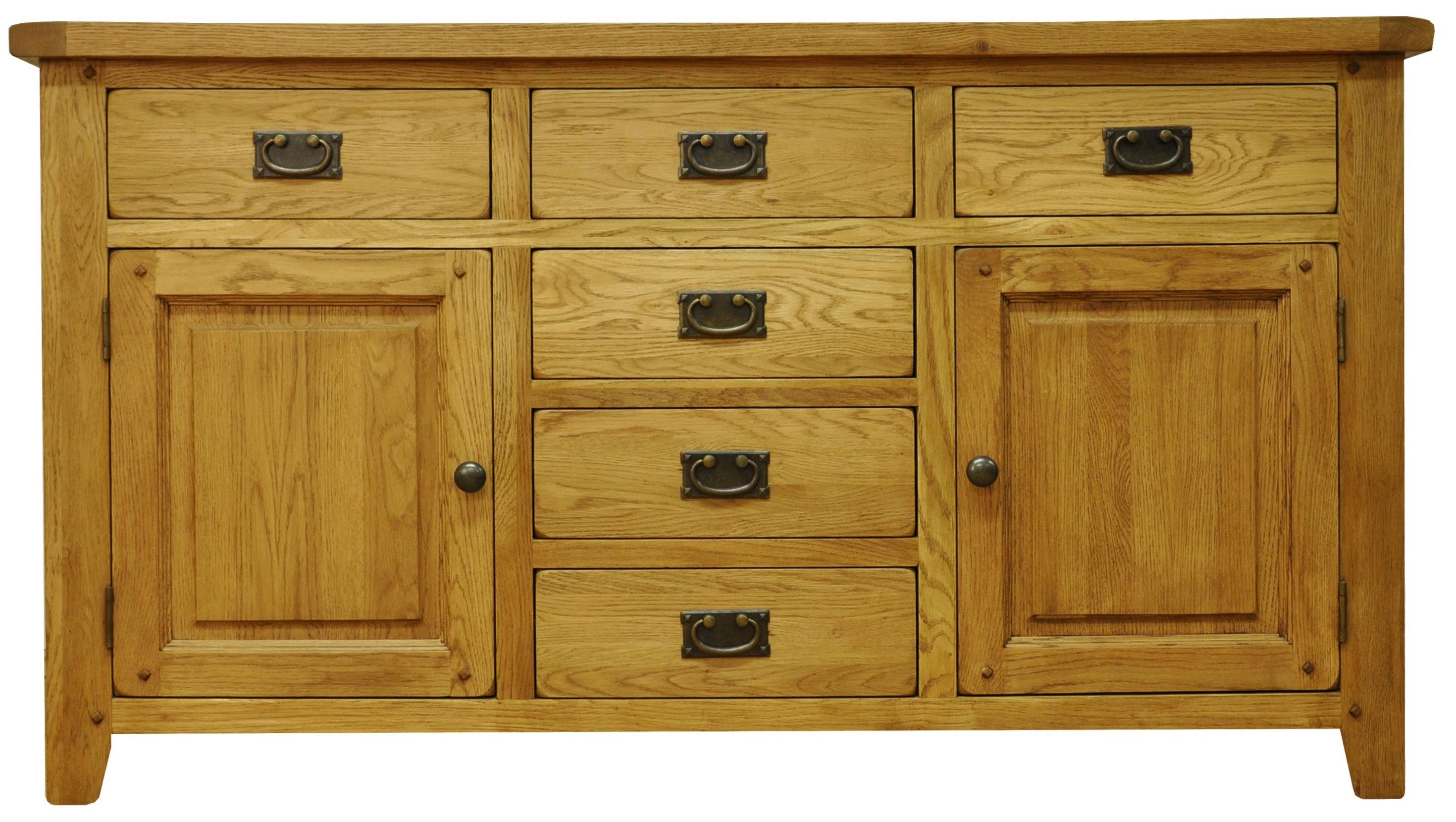 Oldbury Rustic Oak Sideboard With 2 Doors And 6 Drawersstanton in Oak Sideboards With Wine Rack (Image 12 of 30)