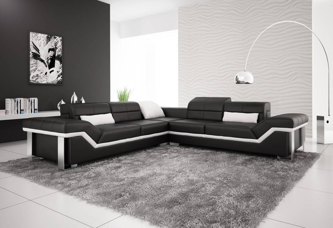 Olympian Sofas Rimini Black Leather Corner Sofa with White Leather Corner Sofa (Image 19 of 30)
