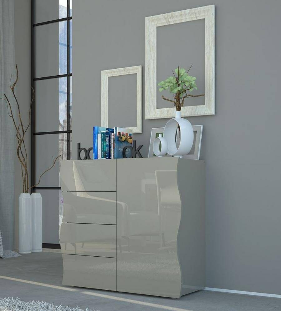 Onda Grey Gloss Sideboard | Storage Furniture | Contemporary Furniture inside Red High Gloss Sideboards (Image 20 of 30)
