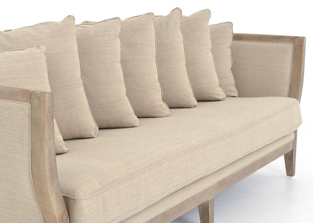 One Cushion Sofa Gray Linen Whitewash Legs within One Cushion Sofas (Image 16 of 30)