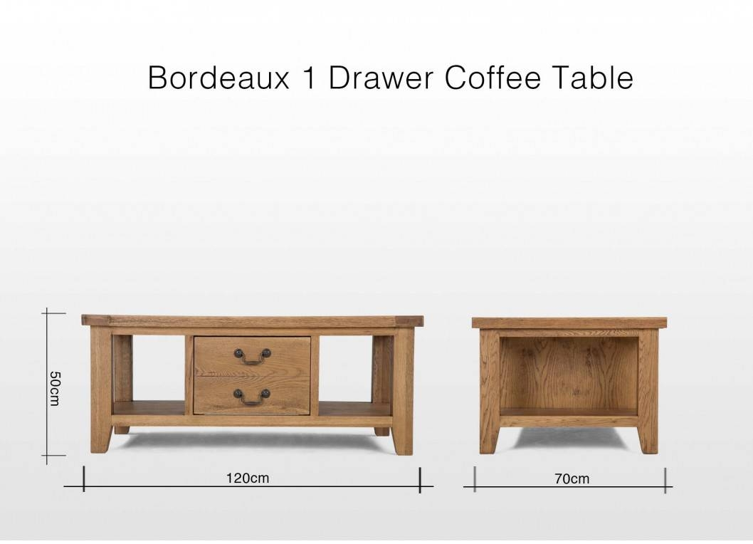 One Drawer Oak Coffee Table - Bordeaux inside Bordeaux Coffee Tables (Image 28 of 30)