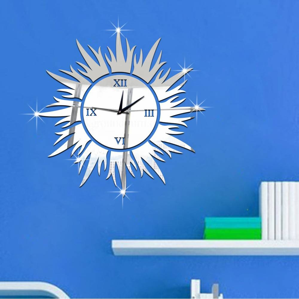 Online Shop Sun Shape Wall Clock 40*40 Large Wall Clock 3D Diy with regard to Large Sun Shaped Mirrors (Image 14 of 25)