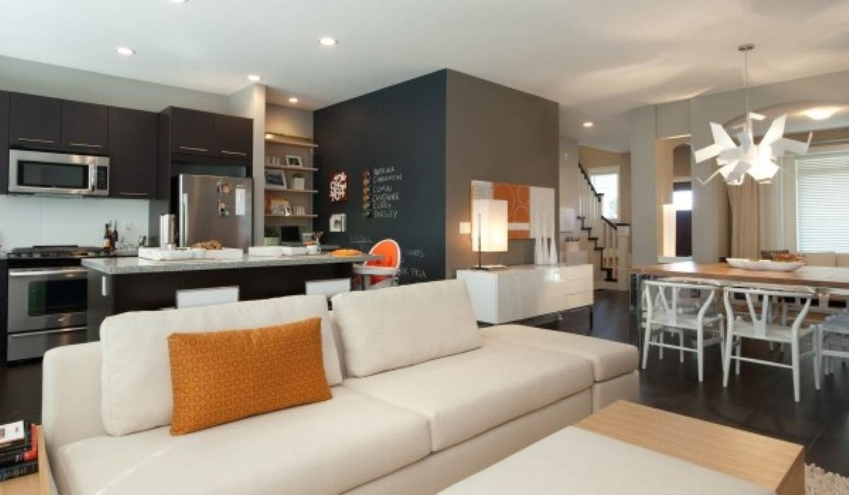 Open Kitchen Design With Living Room Interior And Black Sofa inside Sofas for Kitchen Diner (Image 18 of 30)