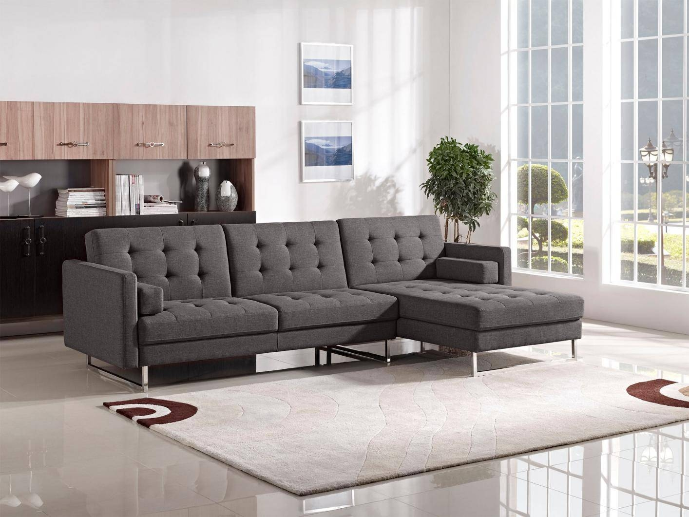 Opus Grey Fabric Sectional Sofa Bed - Steal-A-Sofa Furniture with Cloth Sectional Sofas (Image 26 of 30)