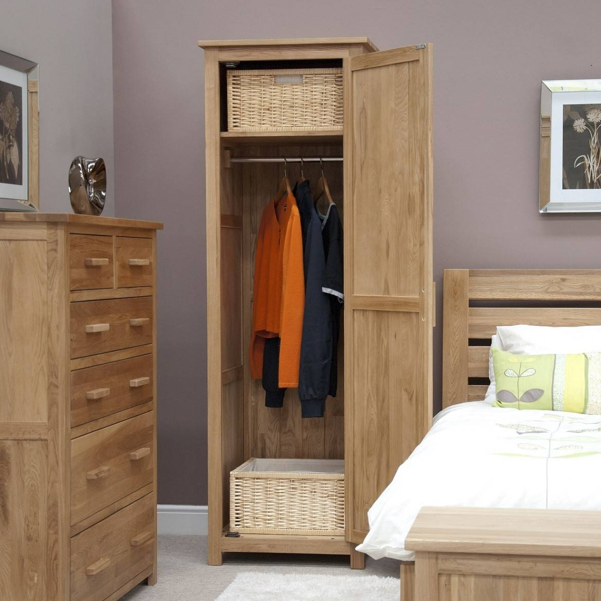 Opus Solid Oak 1 Door Single Wardrobe | Oak Furniture Uk for Oak Wardrobe With Drawers and Shelves (Image 23 of 30)