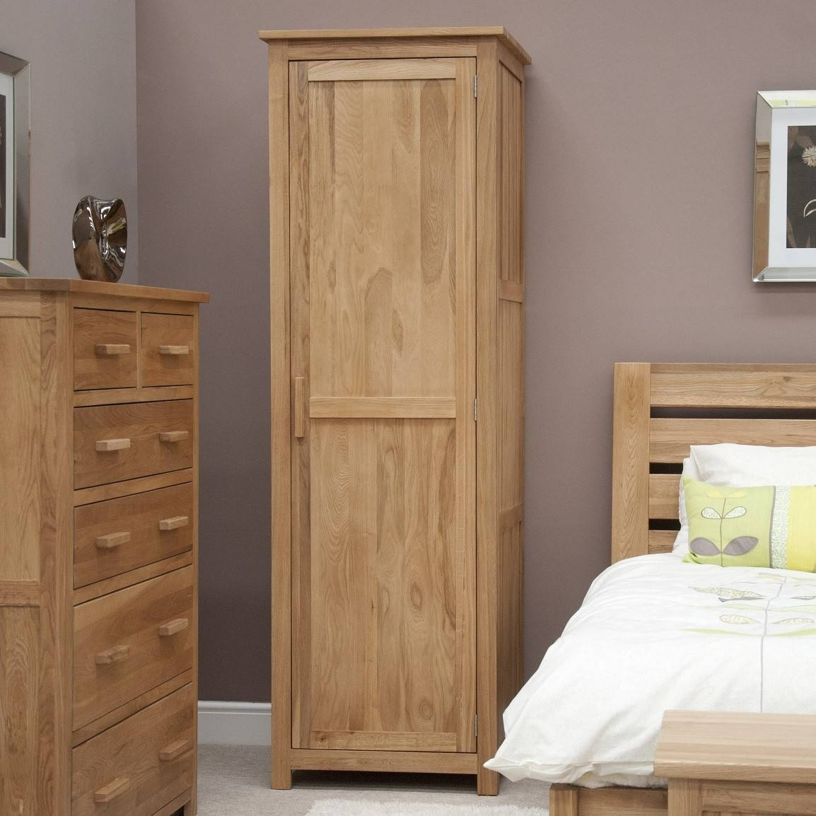 Opus Solid Oak 1 Door Single Wardrobe | Oak Furniture Uk with regard to Small Single Wardrobes (Image 7 of 15)