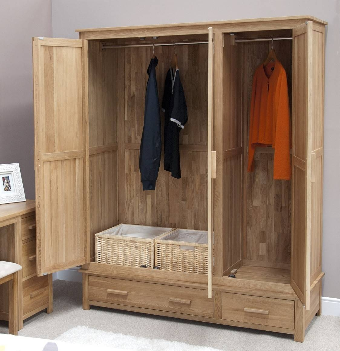 Opus Solid Oak 3 Door Triple Wardrobe | Oak Furniture Uk regarding Large Oak Wardrobes (Image 7 of 15)