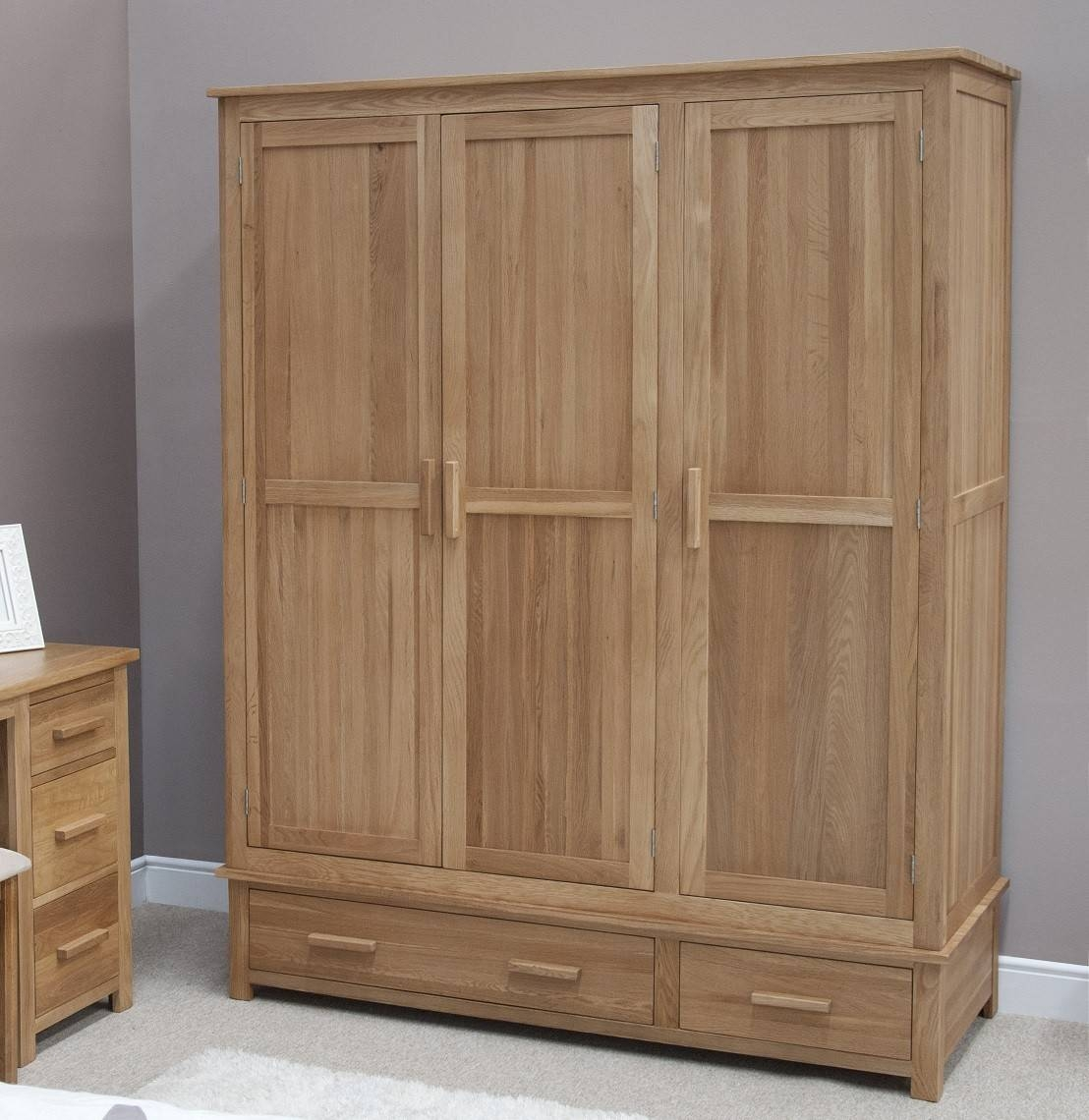 Opus Solid Oak 3 Door Triple Wardrobe | Oak Furniture Uk with Oak 3 Door Wardrobes (Image 9 of 15)
