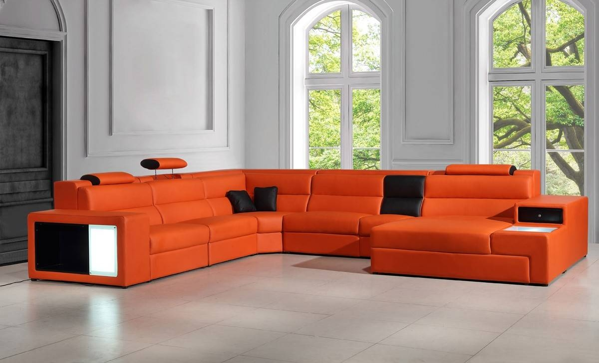 Orange Italian Leather Sectional Sofa within Orange Sectional Sofa (Image 28 of 30)