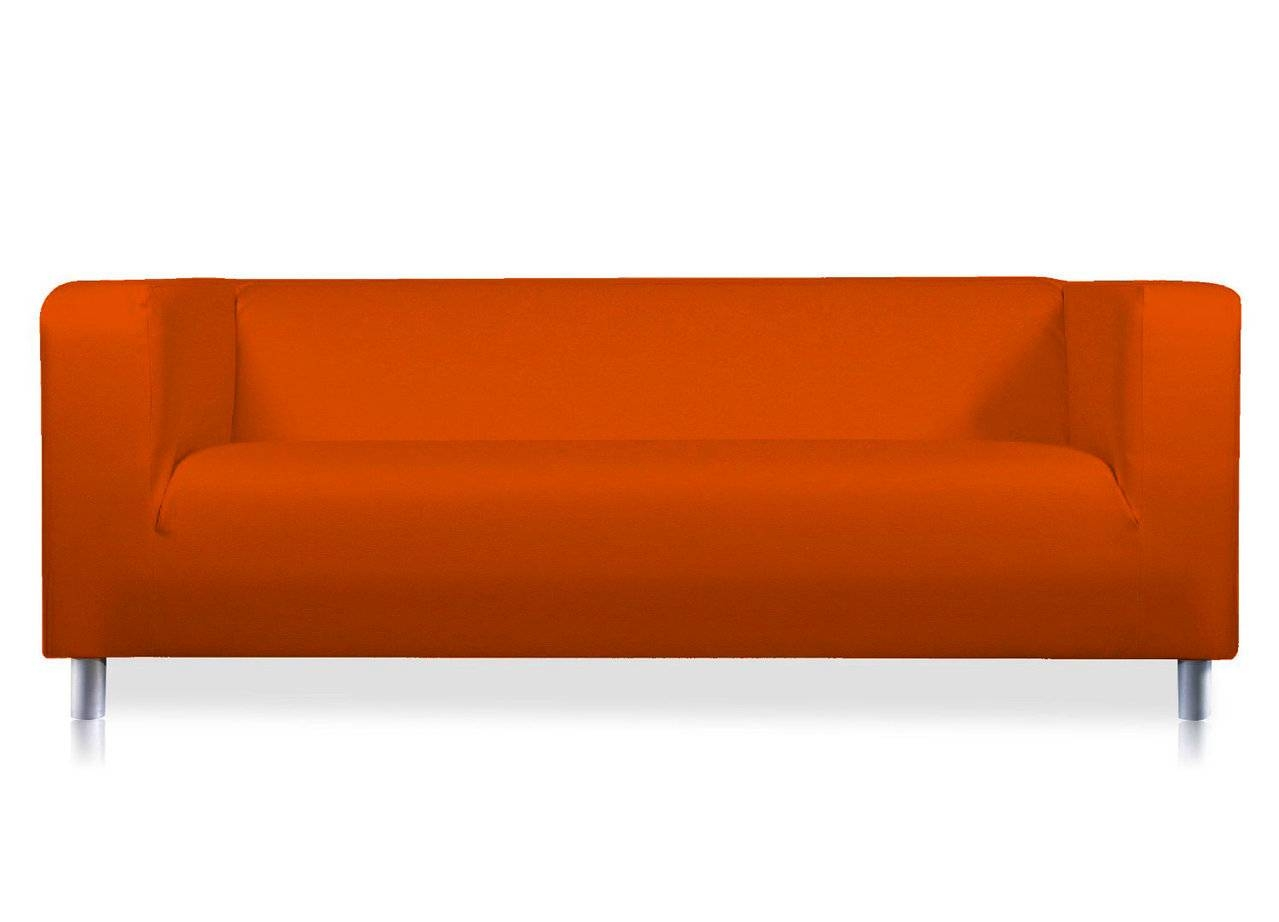 Orange Verano Leather Look Cover For The Ikea Klippan 2 Seat Sofa pertaining to Orange Ikea Sofas (Image 25 of 30)