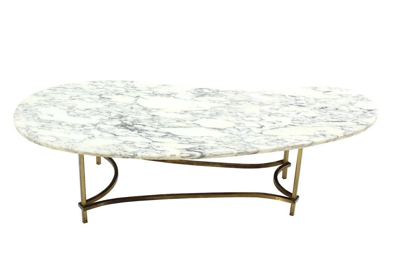 Organic Kidney Shape Marble-Top Brass Base Coffee Table For Sale with regard to Oval Shaped Coffee Tables (Image 19 of 30)