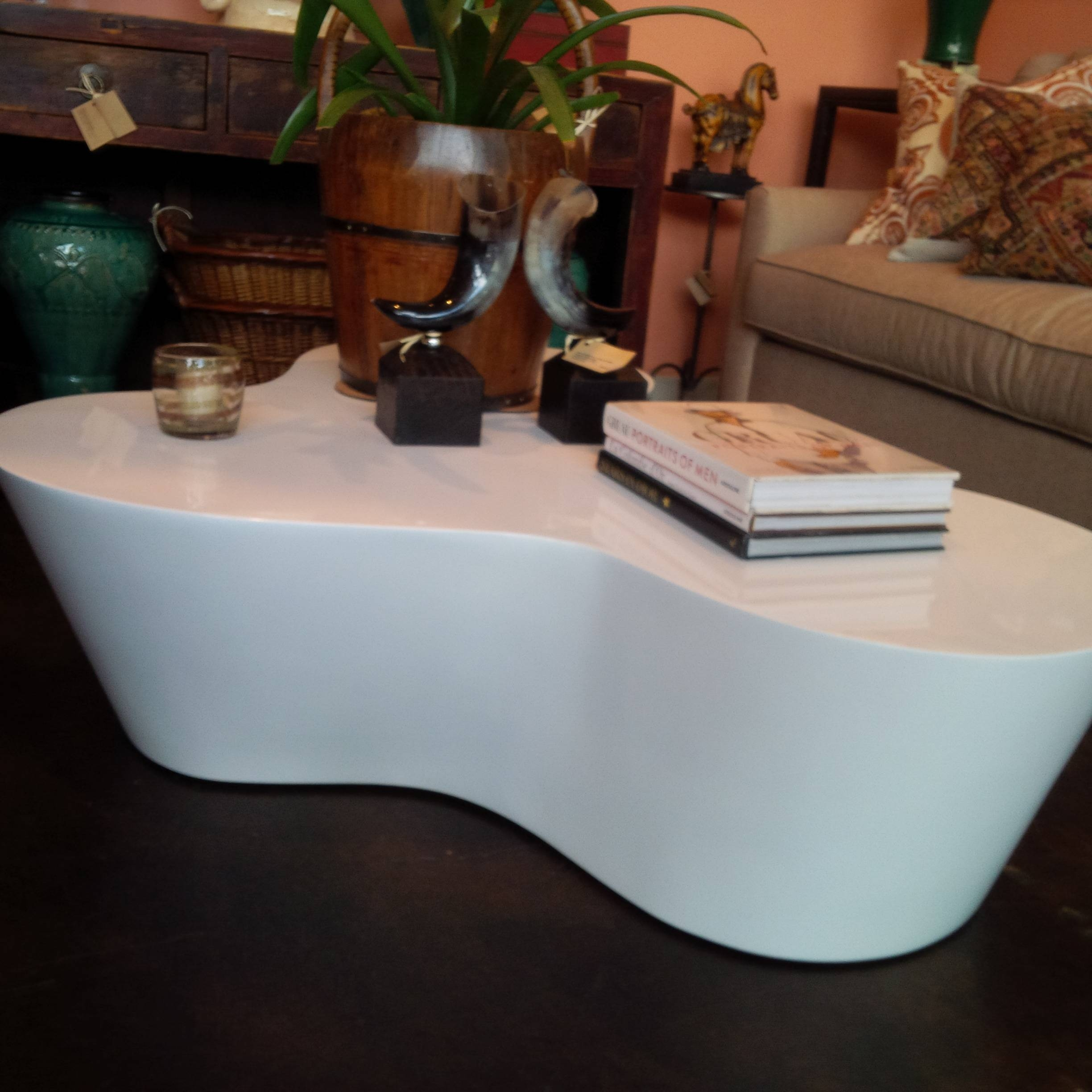 Organic Shaped White Lacquer Coffee Table - Mecox Gardens with regard to Lacquer Coffee Tables (Image 24 of 30)