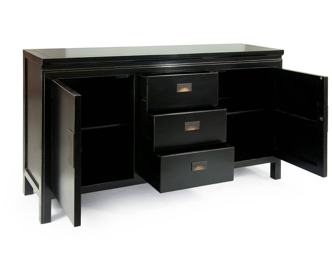 Oriental Black Lacquered Sideboards - Shanxi Large inside Black Sideboards (Image 13 of 30)