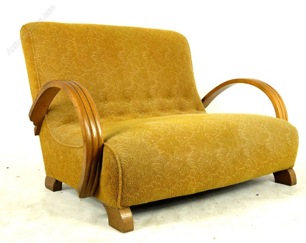 Original 1930's Art Deco Sofa - Antiques Atlas regarding Art Deco Sofa and Chairs (Image 10 of 15)