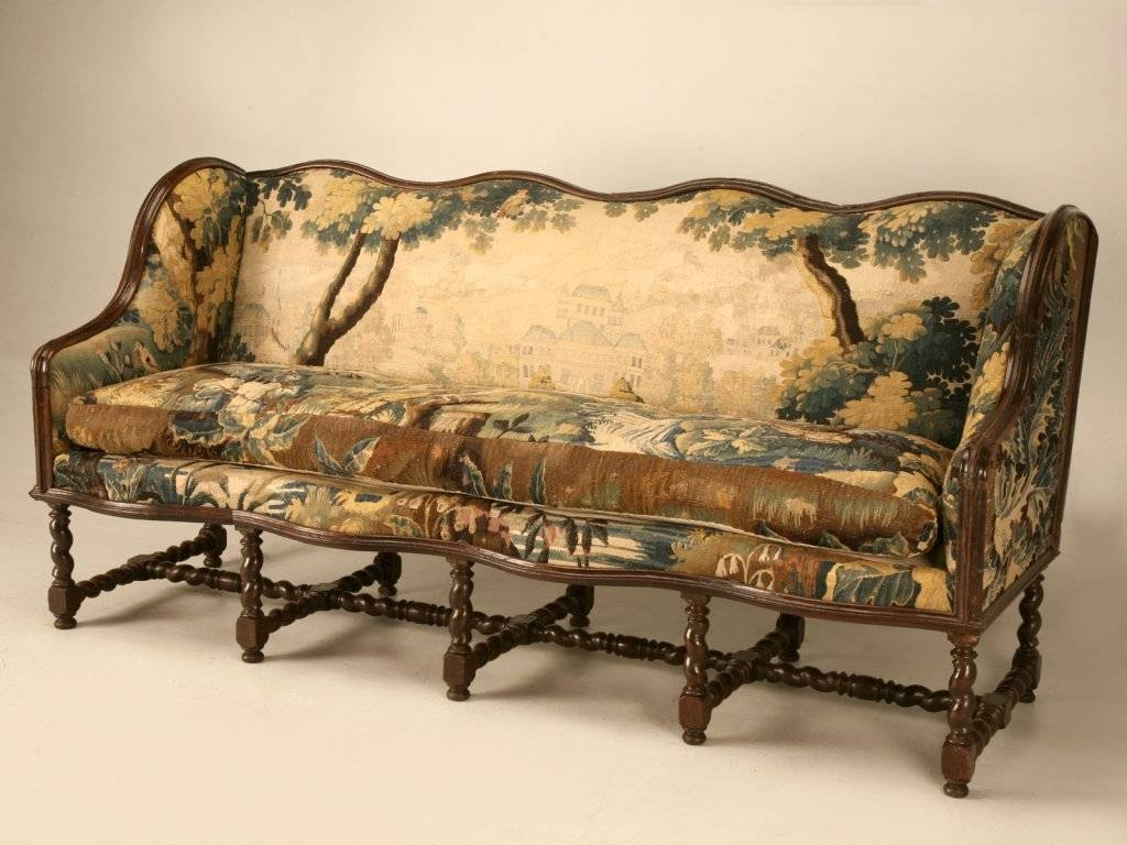 Original Antique French Louis Xiii Sofa With Earlier Aubusson for French Style Sofas (Image 17 of 25)