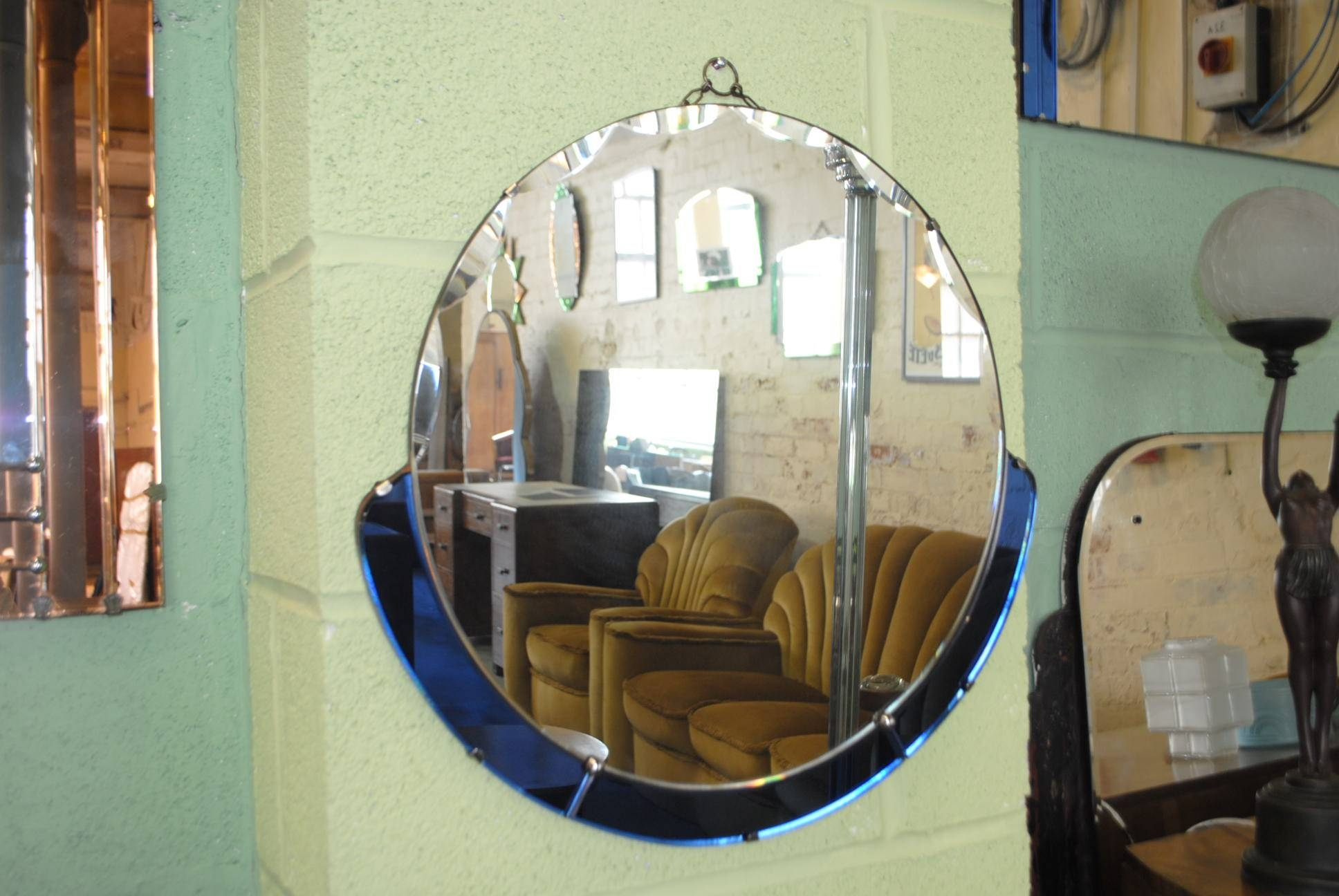 Original Circular And Blue Art Deco Mirror || Cloud 9, Art Deco For Original Art Deco Mirrors (View 25 of 25)