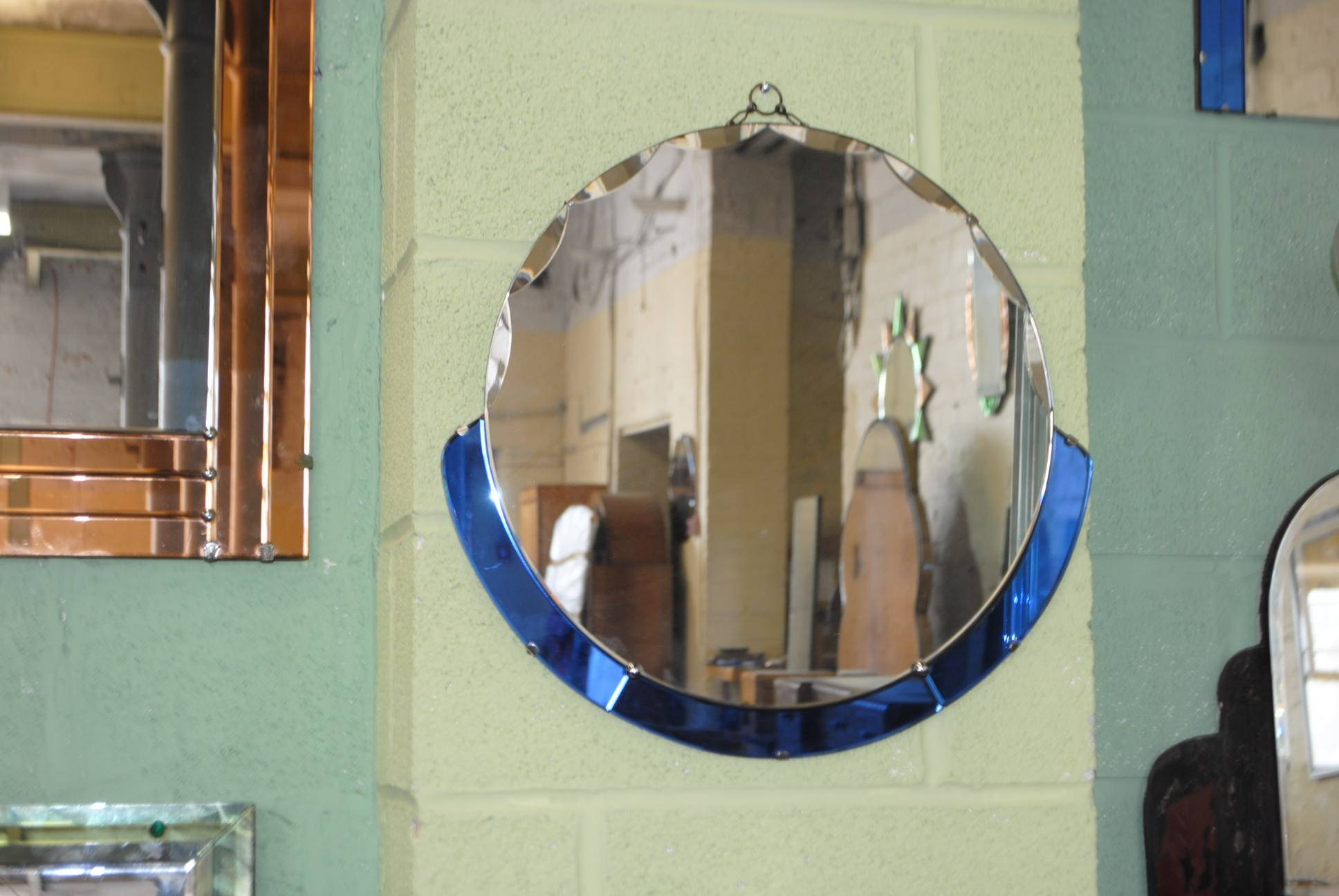 Original Circular And Blue Art Deco Mirror || Cloud 9, Art Deco with regard to Original Art Deco Mirrors (Image 19 of 25)