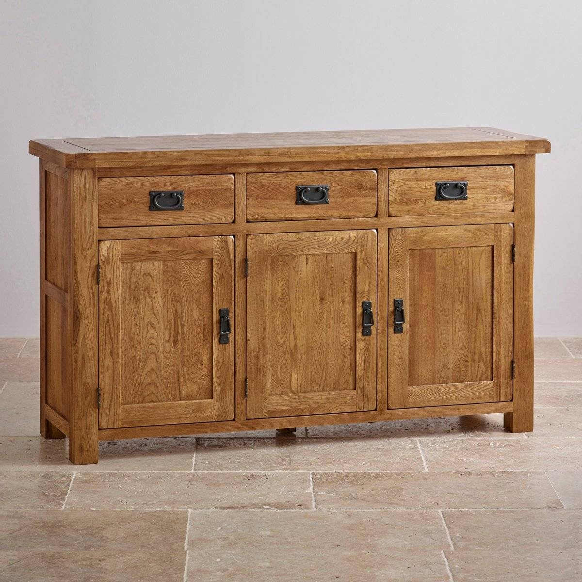 Original Rustic Large Sideboard In Solid Oak | Oak Furniture Land for Oak Sideboards (Image 19 of 30)