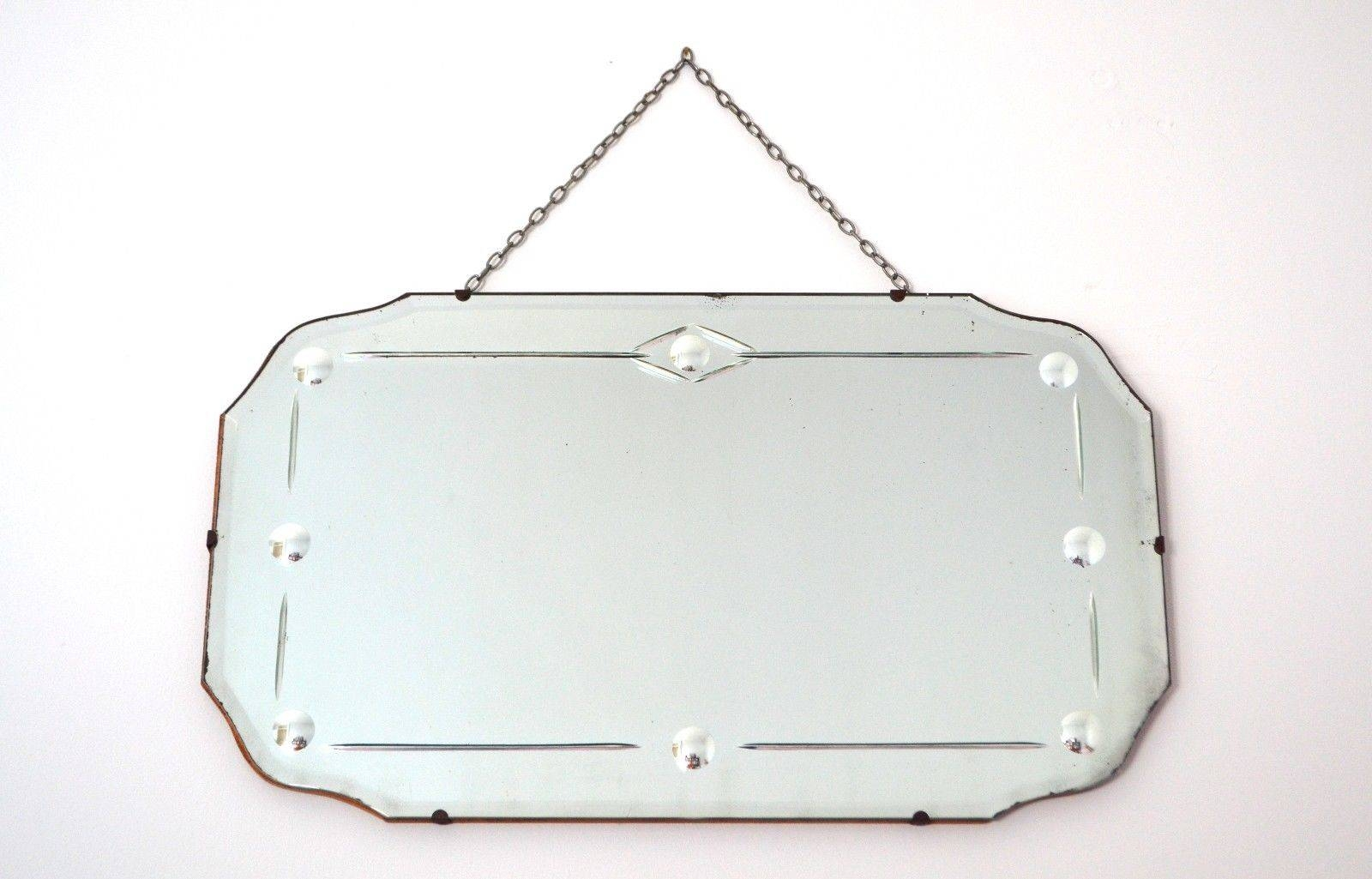 Original Vintage Art Deco 1930S Bevelled Hanging Wall Mirror With With Regard To Original Art Deco Mirrors (View 23 of 25)