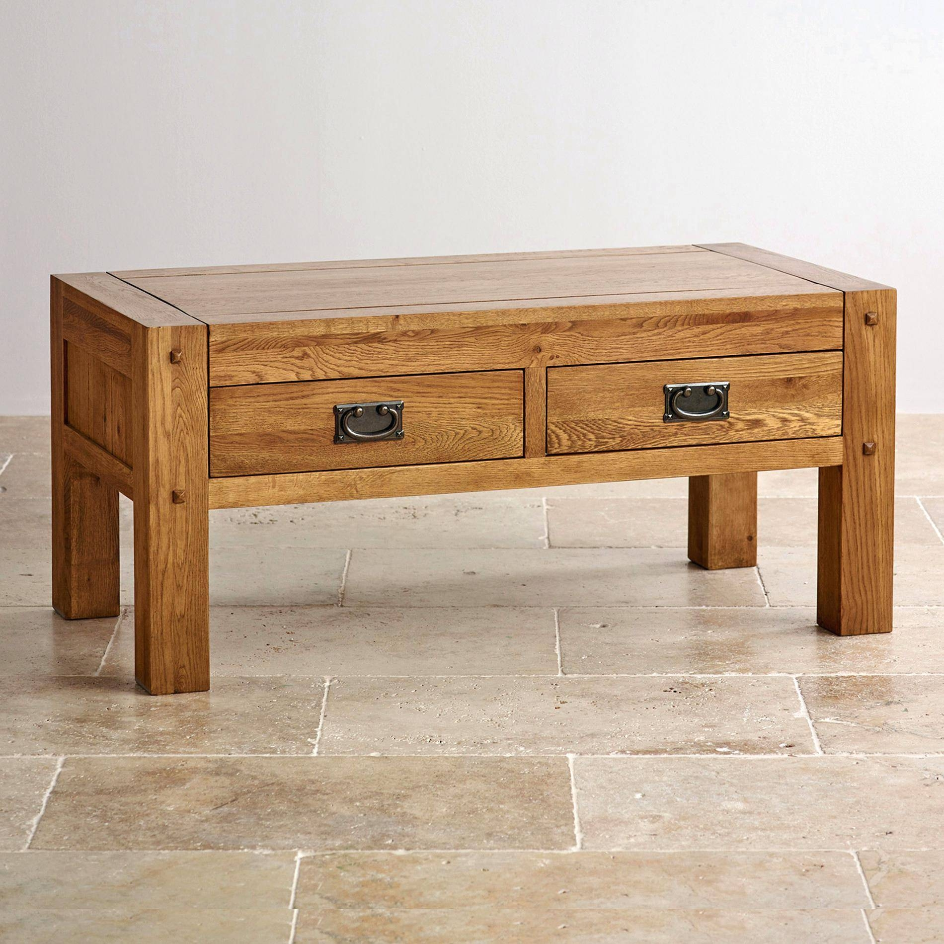 Orly Oak Square Coffee Table With Drawers | Coffee Tables Decoration in Square Oak Coffee Tables (Image 19 of 30)
