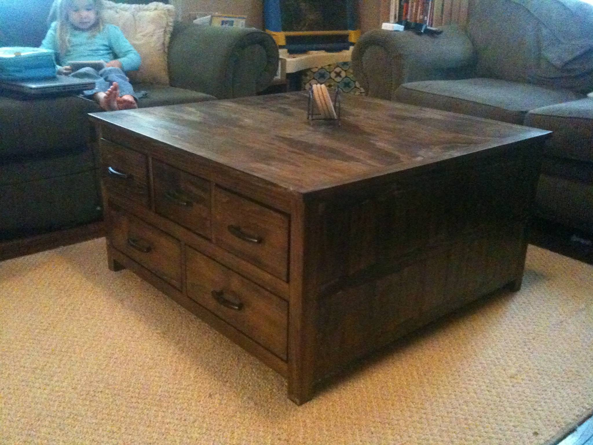 Orly Oak Square Coffee Table With Drawers | Coffee Tables Decoration regarding Glass Square Coffee Tables (Image 23 of 30)