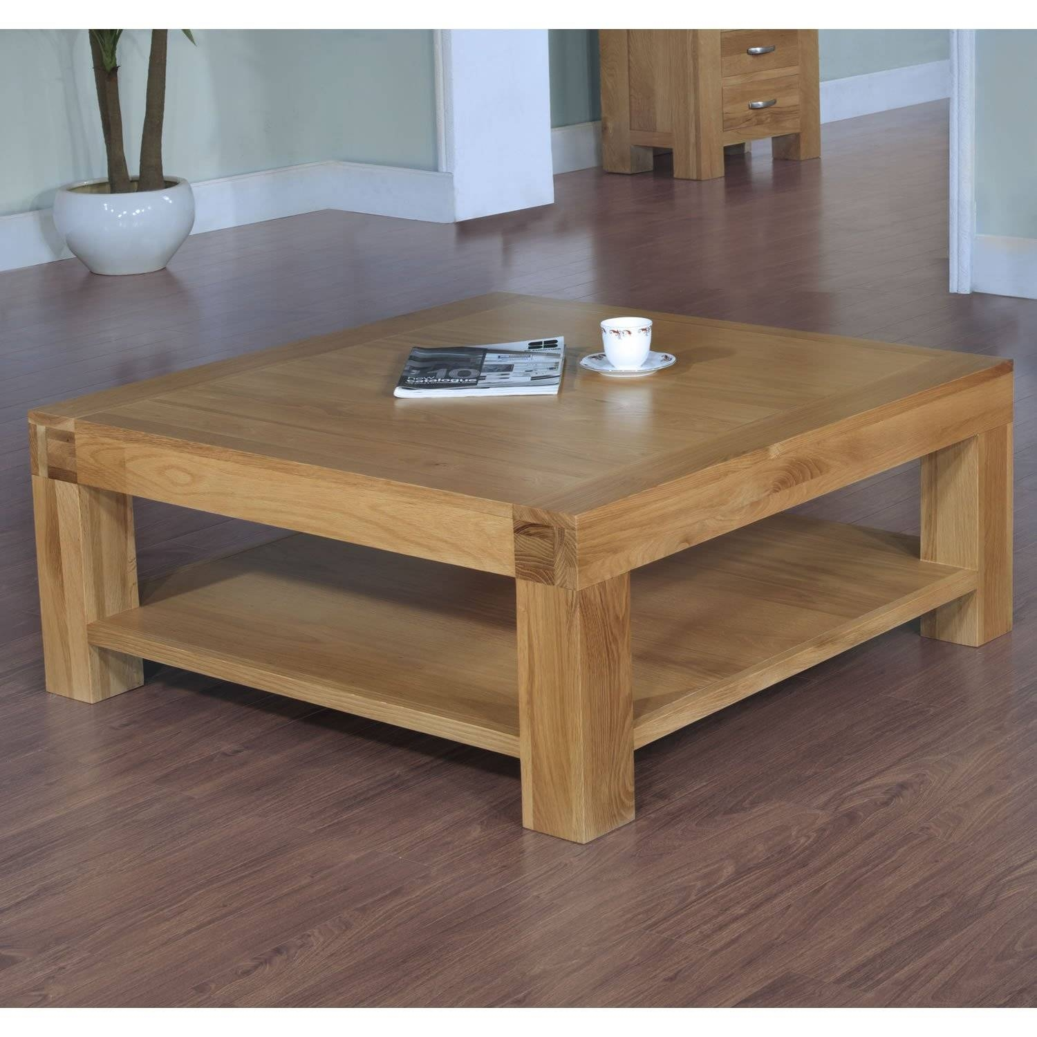 Orly Oak Square Coffee Table With Drawers | Coffee Tables Decoration Regarding Oak Coffee Table Sets (View 26 of 30)