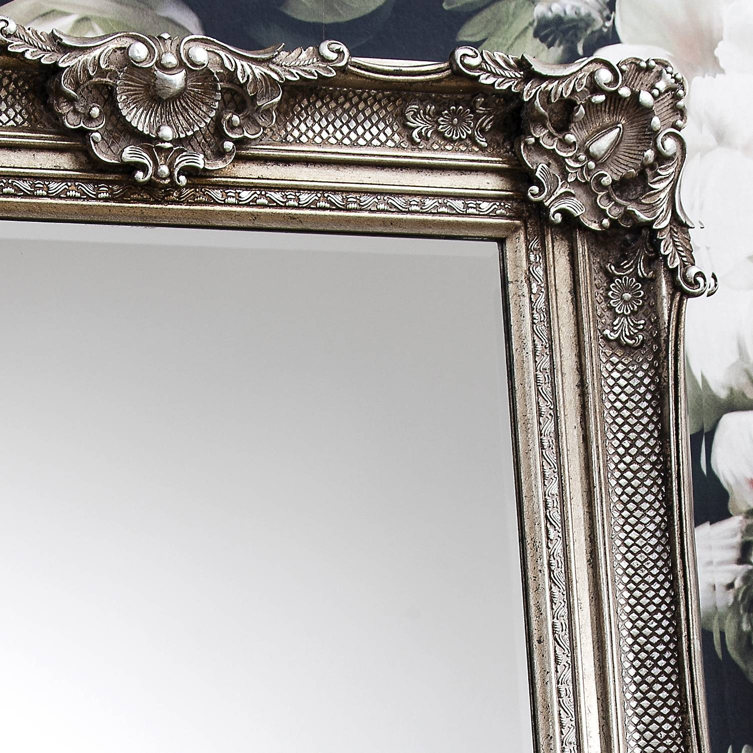 Ornate Antique Silver Floor Standing Mirror – Primrose & Plum inside Ornate Silver Mirrors (Image 12 of 25)